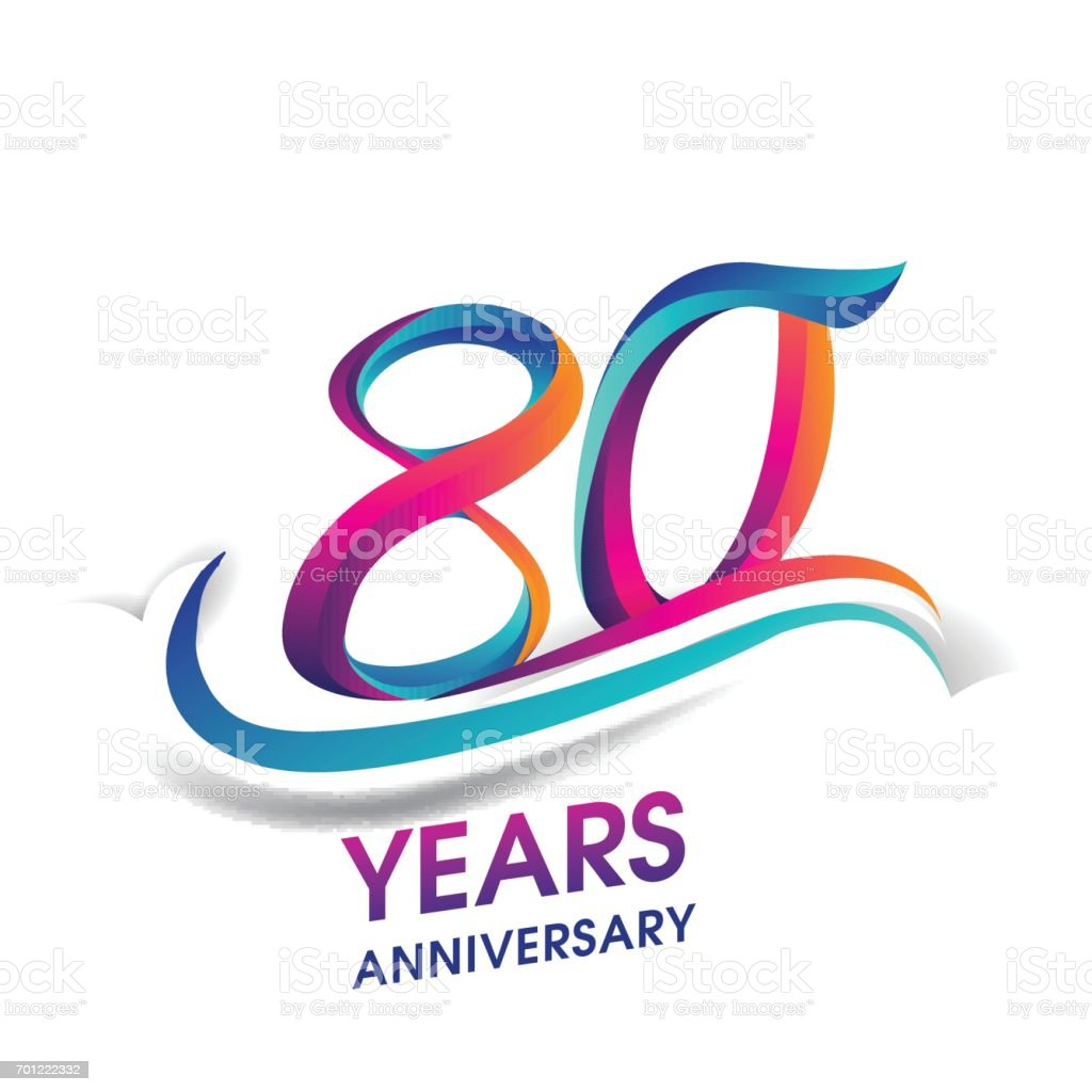 80 years anniversary celebration logotype blue and red colored. vector art illustration