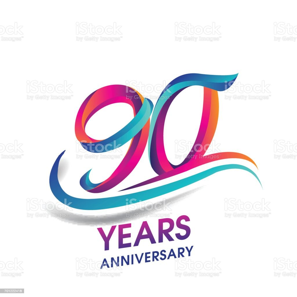 90 years anniversary celebration logotype blue and red colored. vector art illustration