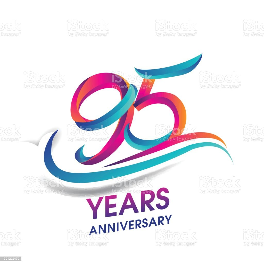 95 years anniversary celebration logotype blue and red colored. vector art illustration