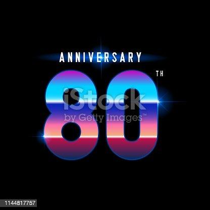 80 years anniversary celebration logotype. Colorful vintage anniversary celebration emblem design for company profile, booklet, leaflet, magazine, brochure, web, invitation or greeting card. Vector illustration.