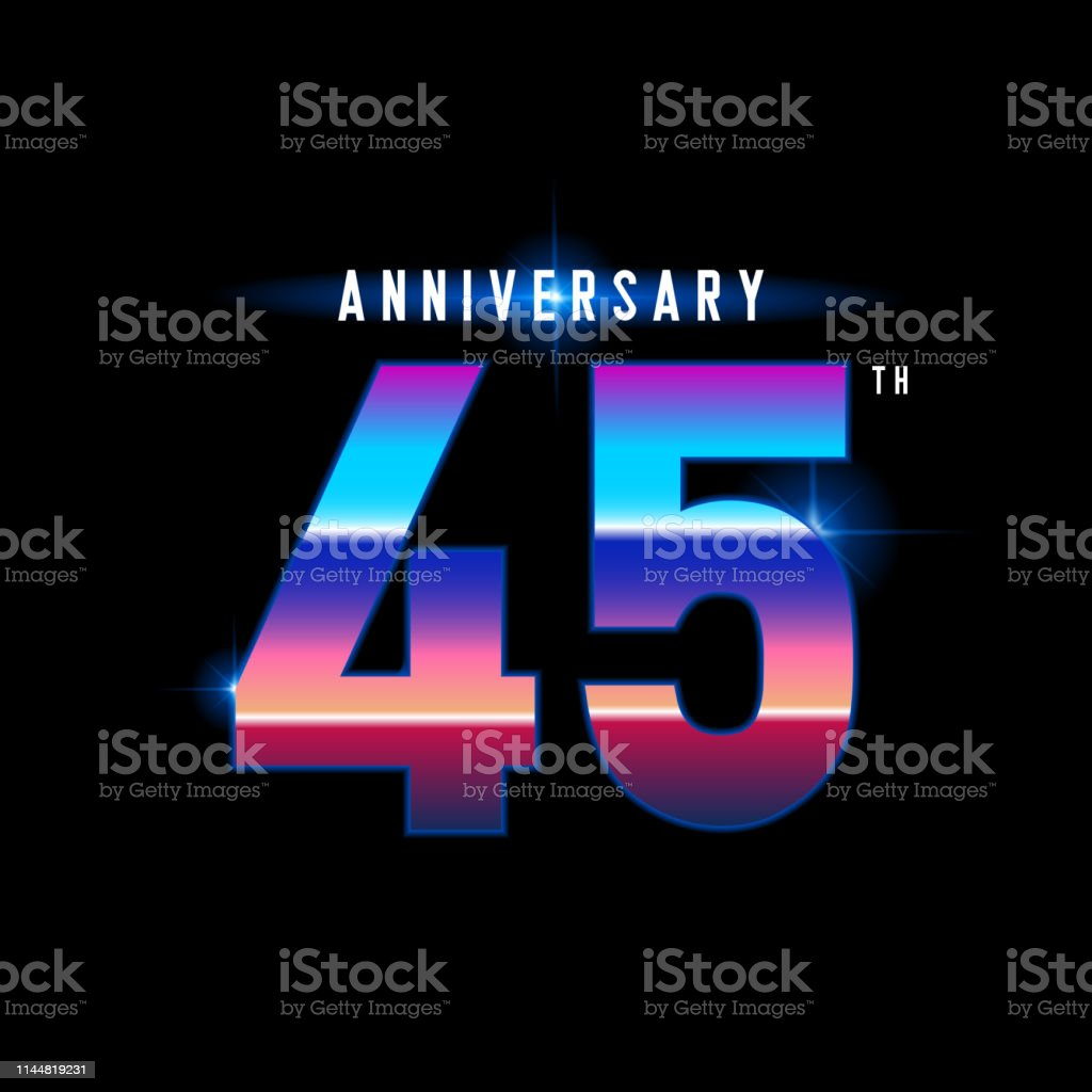 45 years anniversary celebration logotype. Colorful vintage...