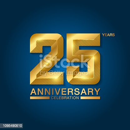 25 years anniversary celebration logotype. Golden anniversary emblem with ribbon. Design for booklet, leaflet, magazine, brochure, poster, web, invitation or greeting card. Vector illustration.