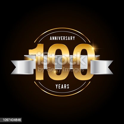 100 years anniversary celebration logotype. Golden anniversary emblem with ribbon. Design for booklet, leaflet, magazine, brochure, poster, web, invitation or greeting card. Vector illustration.