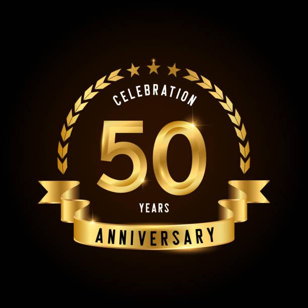 bildbanksillustrationer, clip art samt tecknat material och ikoner med 50 år jubileum firande logotyp. golden anniversary emblem med band. design för häfte, broschyr, magasin, broschyr, affisch, web, inbjudan eller gratulationskort. - talet 50