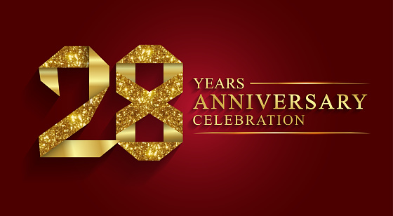 28 years anniversary celebration logotype. Logo,ribbon golden number on red background.Numbers ribbon gold foil.