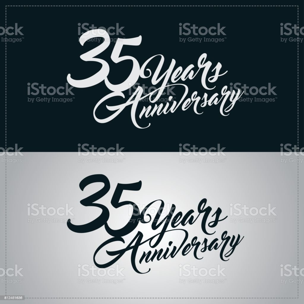 35 years anniversary celebration logotype vector art illustration