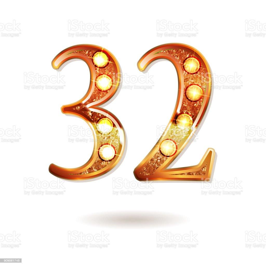32 years anniversary celebration logotype vector art illustration