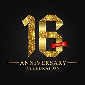 16 years anniversary celebration logotype