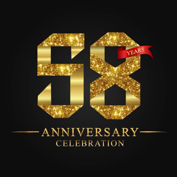 bildbanksillustrationer, clip art samt tecknat material och ikoner med 58 år årsjubileum firande logotype - 55 59 år