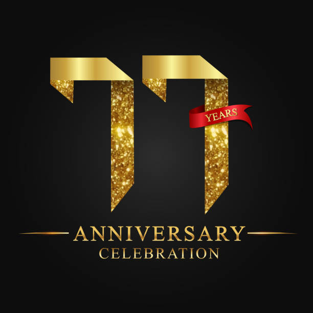 77 years anniversary celebration logotype - oscars stock illustrations, clip art, cartoons, & icons