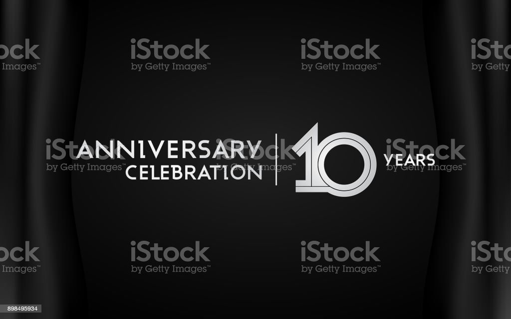 10 Years Anniversary Celebration Logotype with Multi Linear Font Isolated on Black Background vector art illustration
