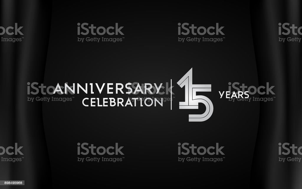15 Years Anniversary Celebration Logotype with Multi Linear Font Isolated on Black Background vector art illustration