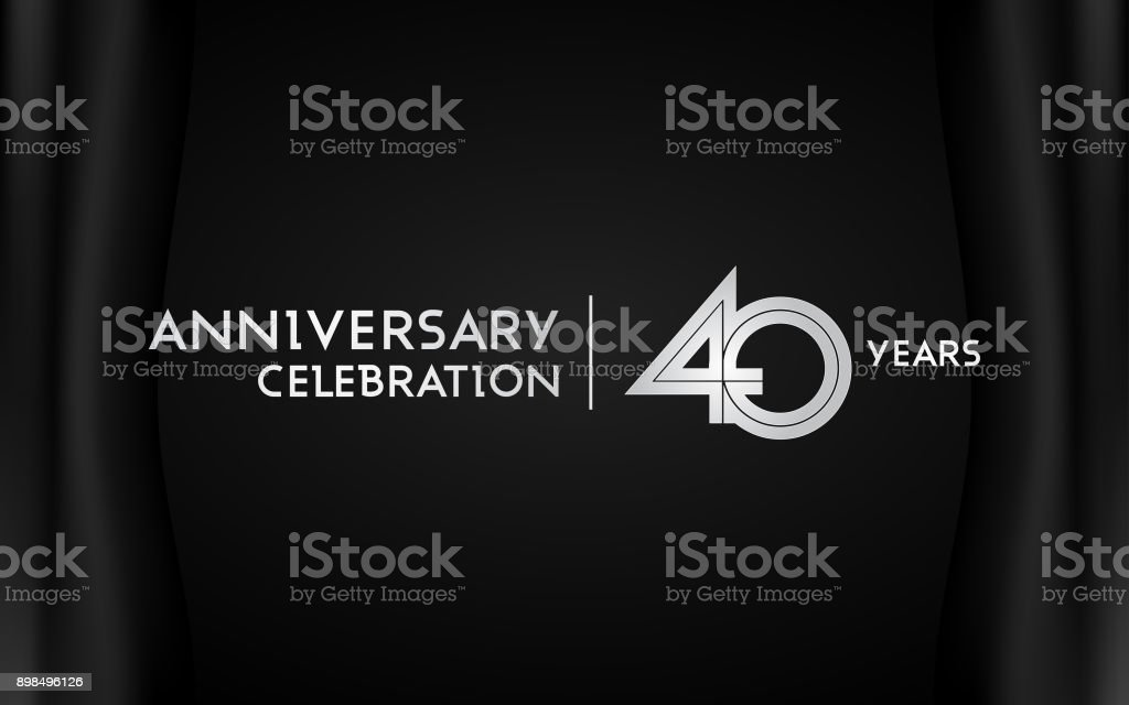 40 Years Anniversary Celebration Logotype with Multi Linear Font Isolated on Black Background vector art illustration