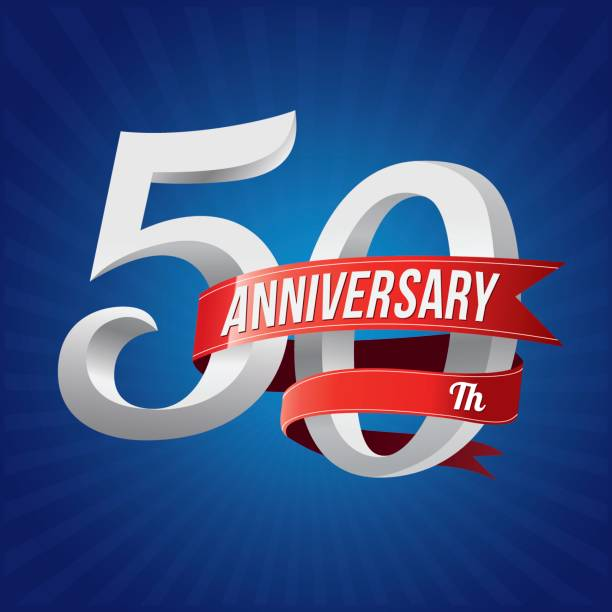 50 years anniversary celebration type. 50th silver number with red ribbons on blue background vector art illustration