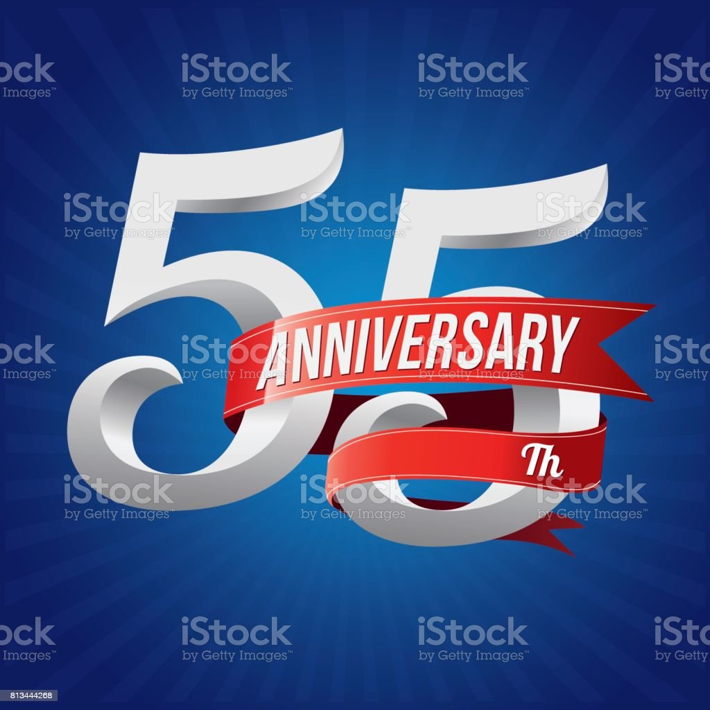55 Years Anniversary Celebration Type 55th Silver Number With Red Ribbons On Blue Background
