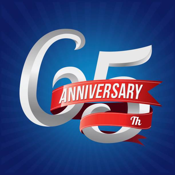 65 years anniversary celebration type. 65th silver number with red ribbons on blue background vector art illustration