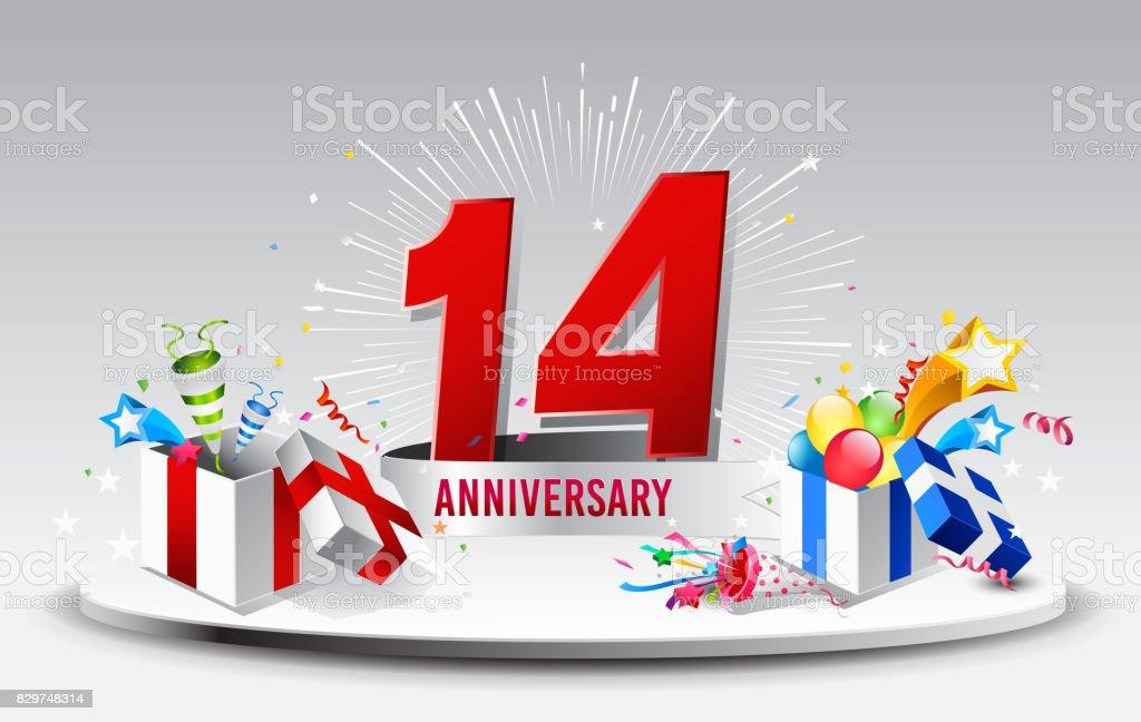 14 Jahre Jubiläum Feier Vektor Vektorillustration Geburtstag Mit