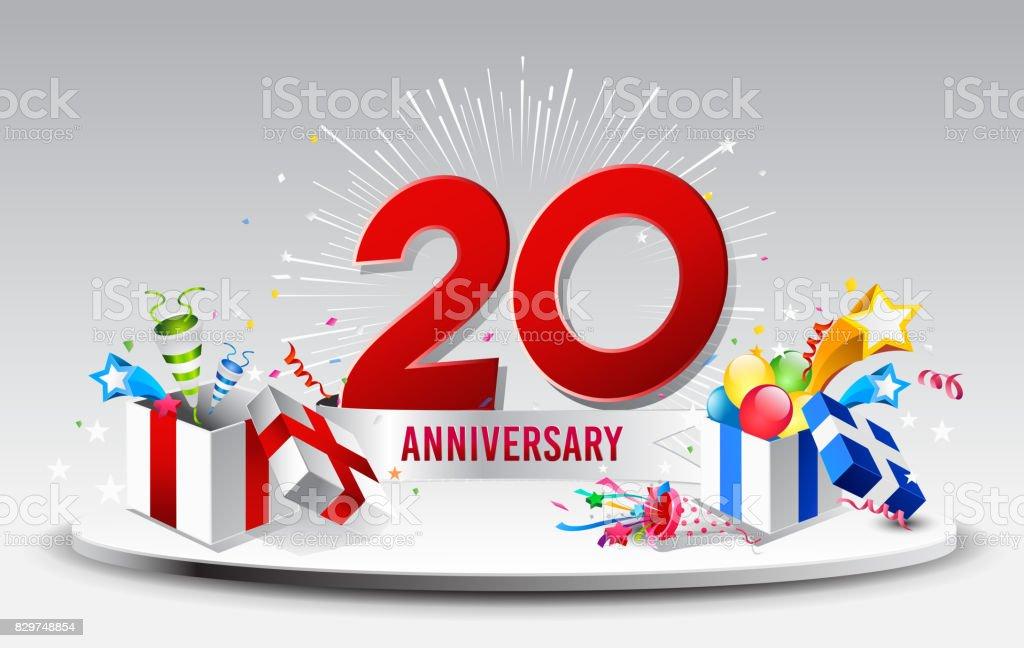 20 Jahre Jubiläum Feier Vektor Vektorillustration Geburtstag