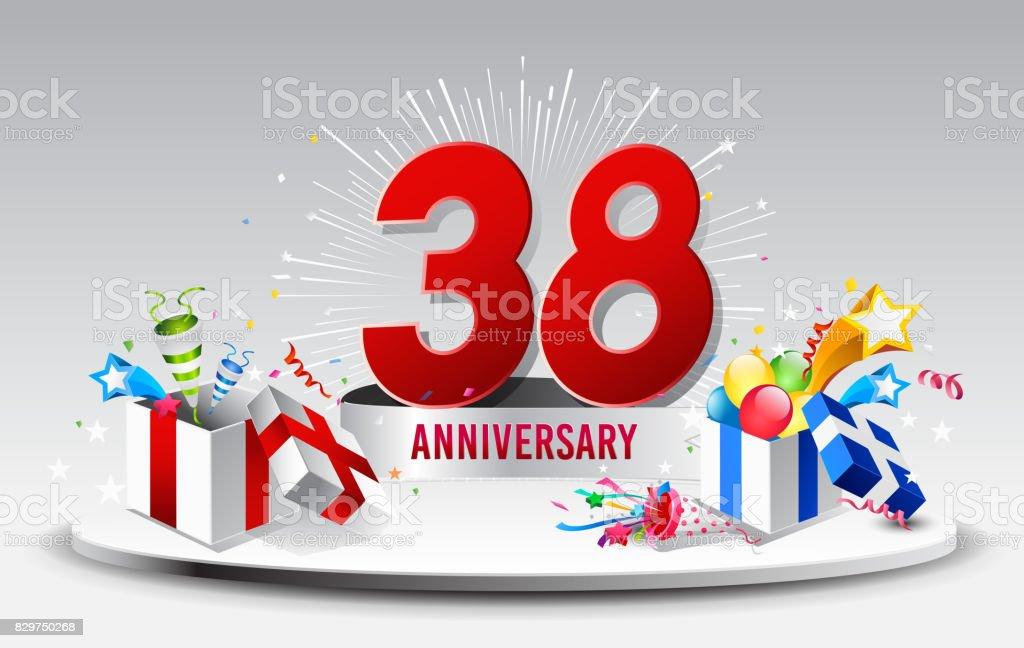 38 Jahre Jubiläum Feier Vektor Vektorillustration Geburtstag