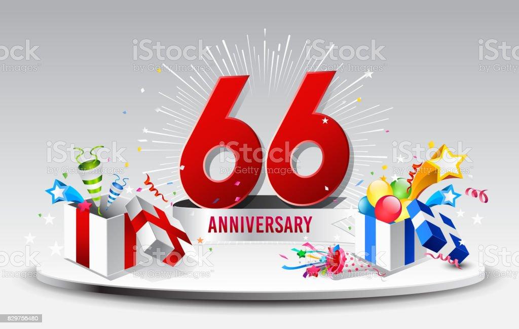 66 Jahre Jubiläum Feier Vektor Vektorillustration Geburtstag Mit