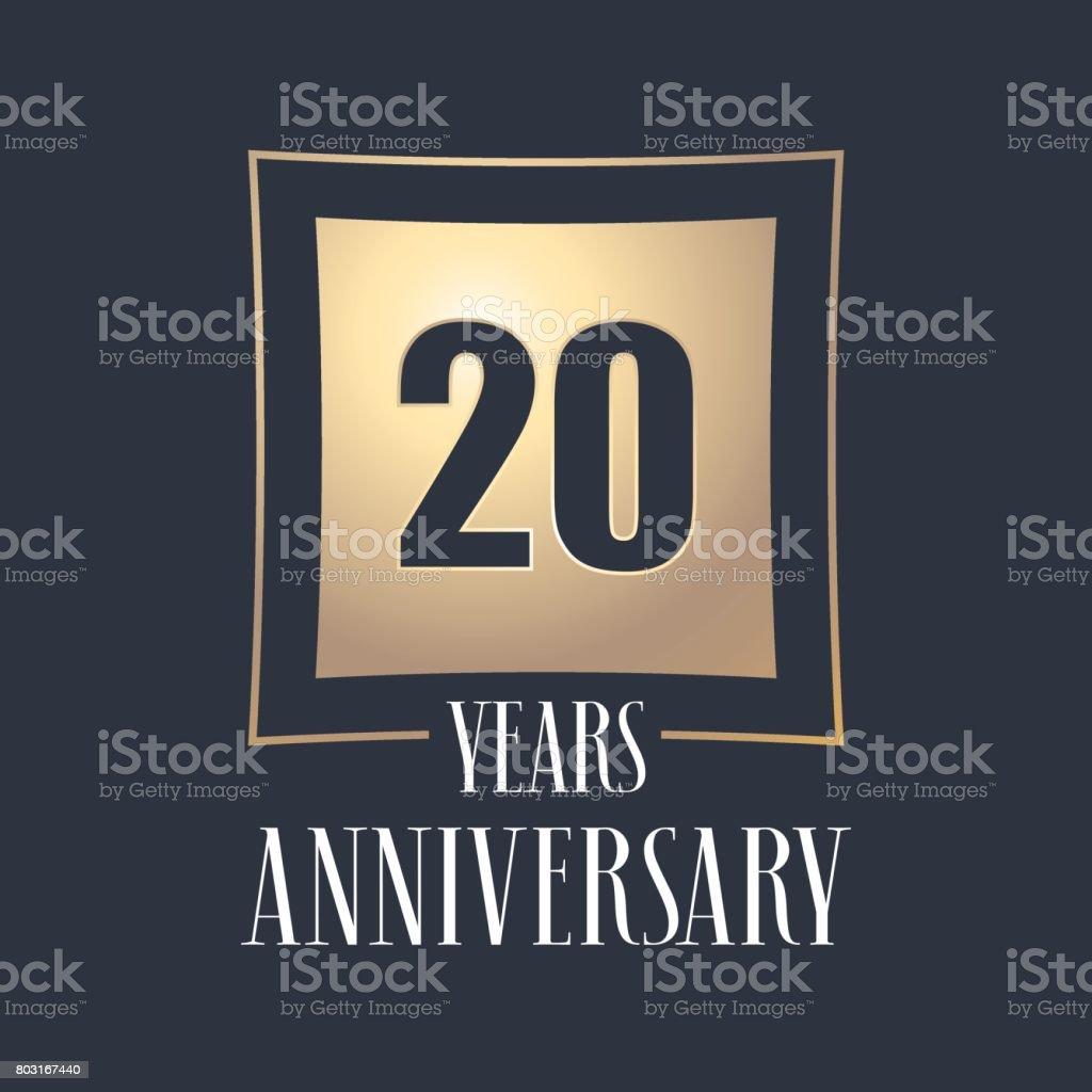 20 years anniversary celebration vector icon, logo vector art illustration