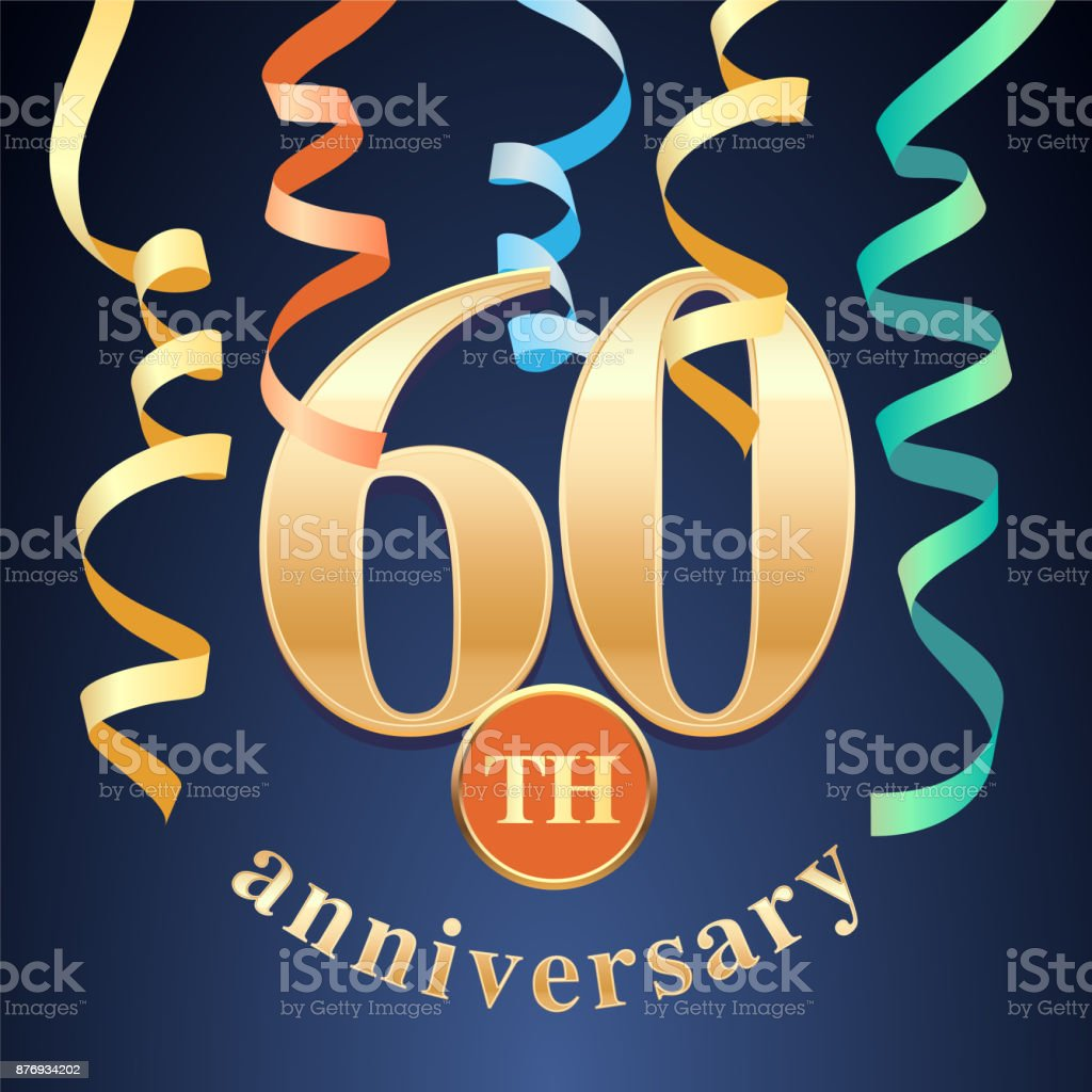60 years anniversary celebration vector icon vector art illustration