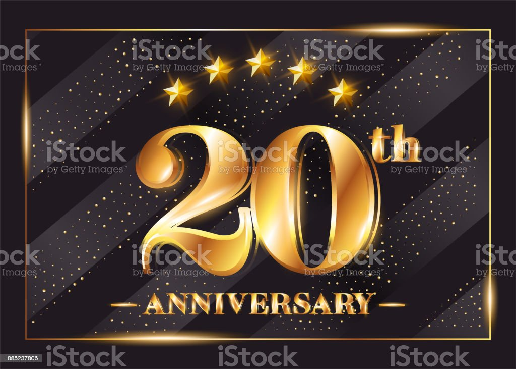 20 Years Anniversary Celebration Vector Logo. 20th Anniversary Gold Icon with Stars and Frame. Luxury Shiny Design for Greeting Card, Invitation, Congratulation Card. Isolated on Black Background. vector art illustration