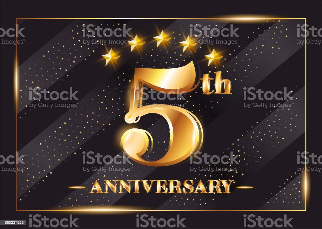 5 Years Anniversary Celebration Vector Logo. 5th Anniversary Gold Icon with Stars and Frame. Luxury Shiny Design for Greeting Card, Invitation, Congratulation Card. Isolated on Black Background. - illustrazione arte vettoriale