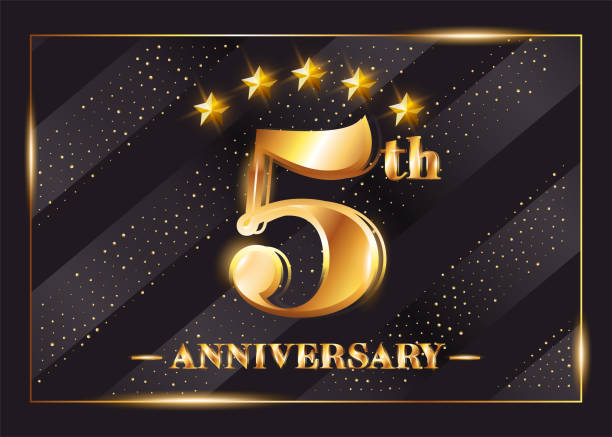 5 years anniversary celebration vector icon, logo. template design element  with gold color age for 5th anniversary card.
