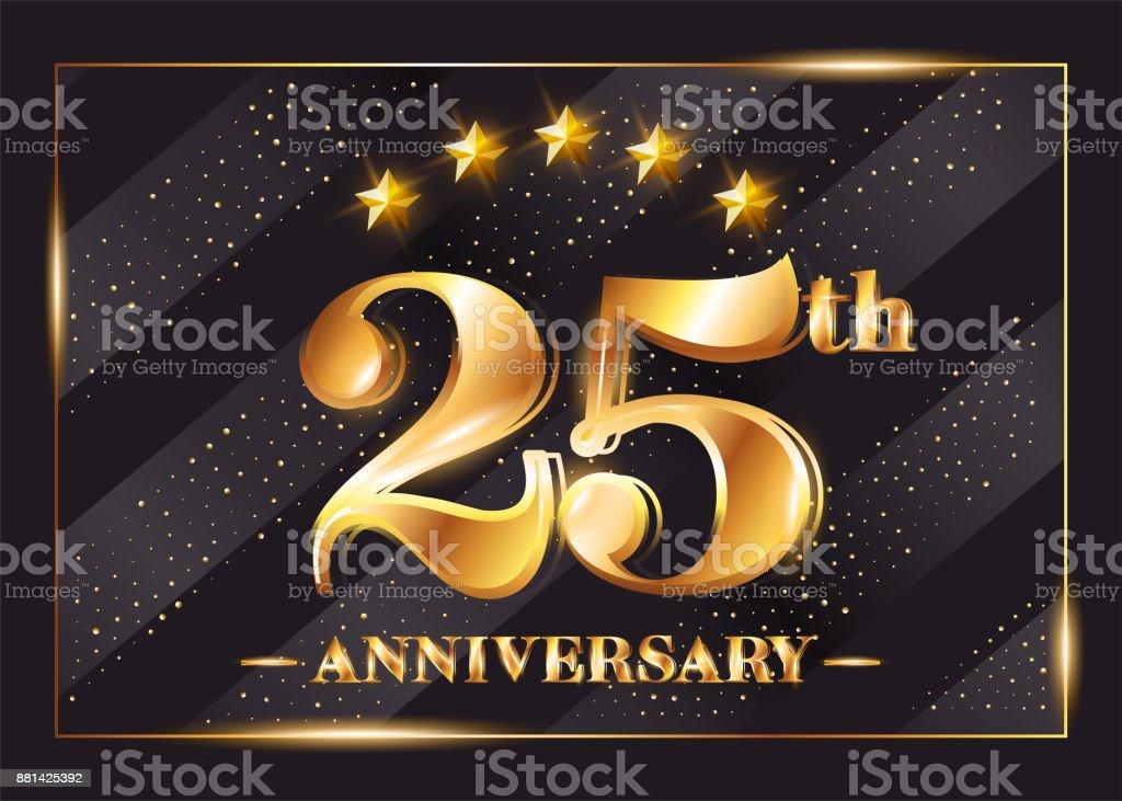 25 Years Anniversary Celebration Vector Symbol 25th Anniversary Gold