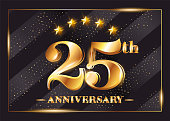 25 Years Anniversary Celebration Vector symbol. 25th Anniversary Gold Icon with Stars and Frame. Luxury Shiny Design for Greeting Card, Invitation, Congratulation Card. Isolated on Black Background.