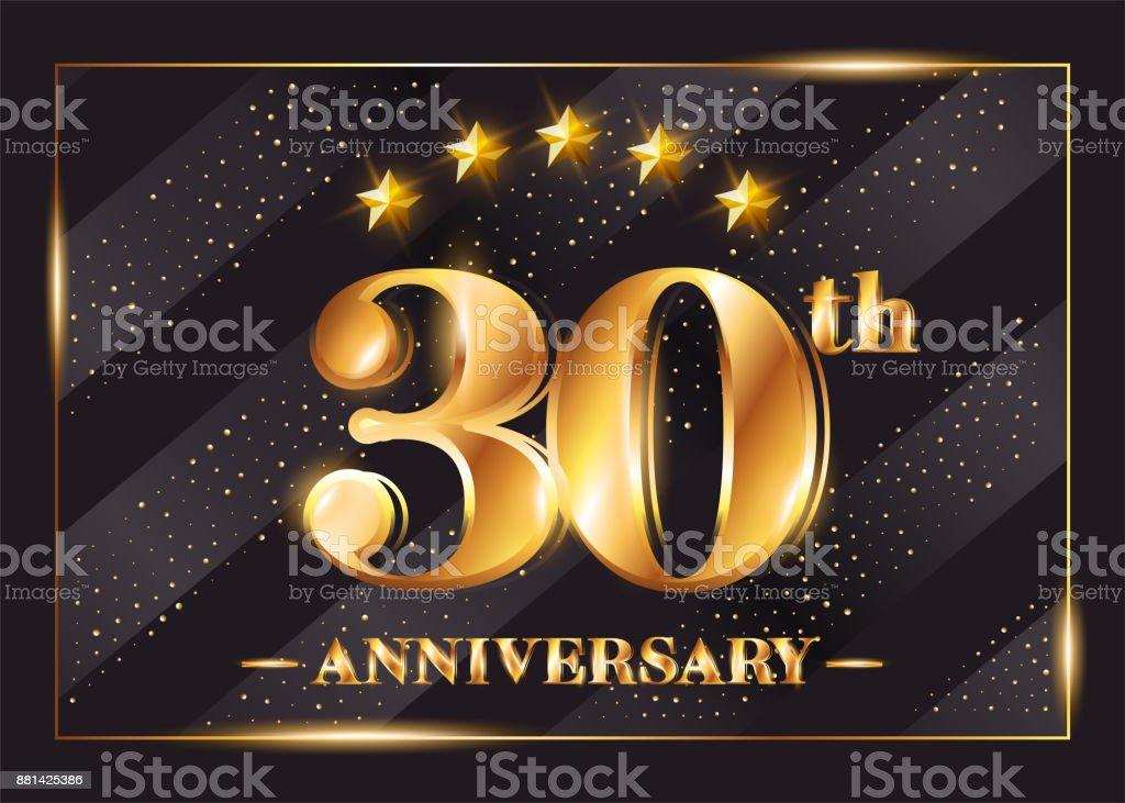 30 års gratulation 30 års Jubileum Firande Vektor Symbol 30årsjubileum Guld Ikonen  30 års gratulation