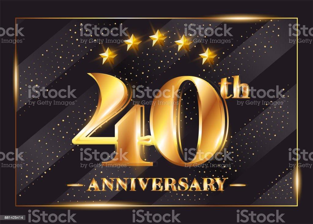 40 Years Anniversary Celebration Vector Symbol 40th Anniversary Gold