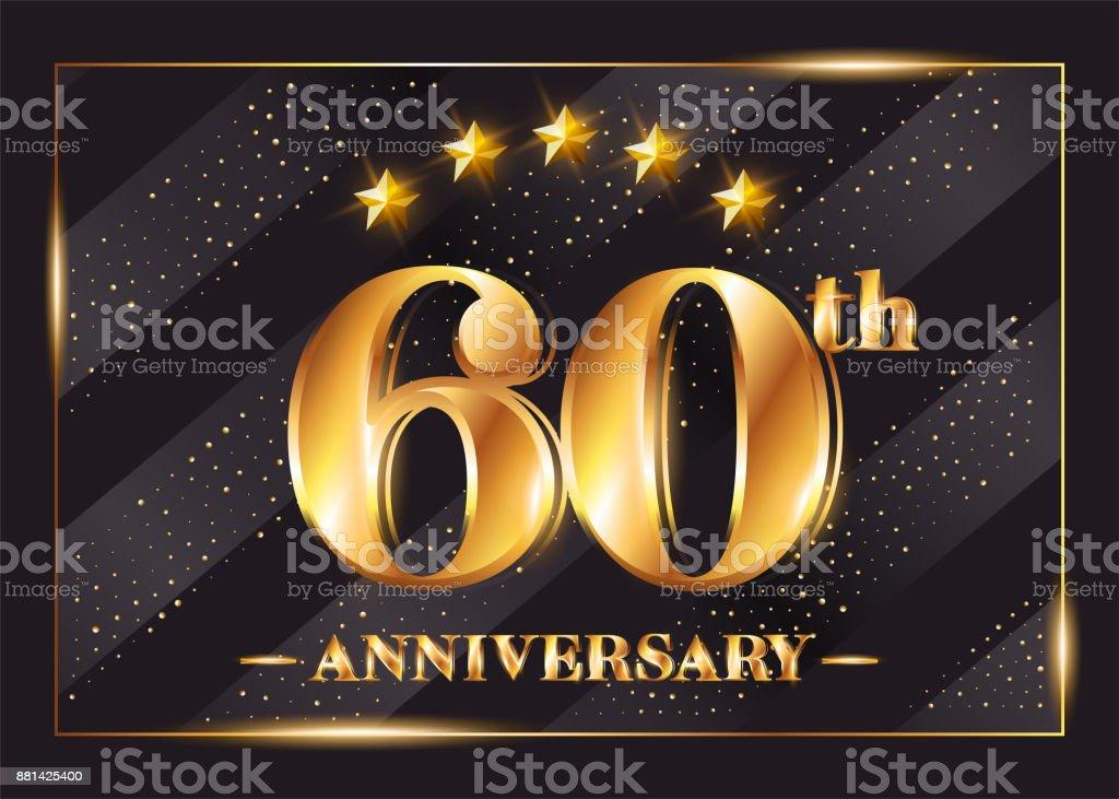 Ilustración De Symboltype Vector De Celebración De Aniversario De 60 Años 60 º Aniversario Oro Divisa Con Brillo Diseño Brillante De Lujo Para La