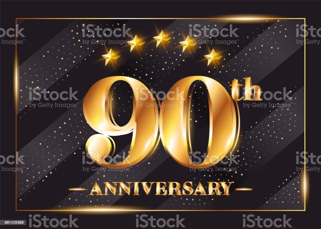 Onwijs 90 Jaar Jubileum Viering Vector Symboltype 90ste Verjaardag Goud IX-93