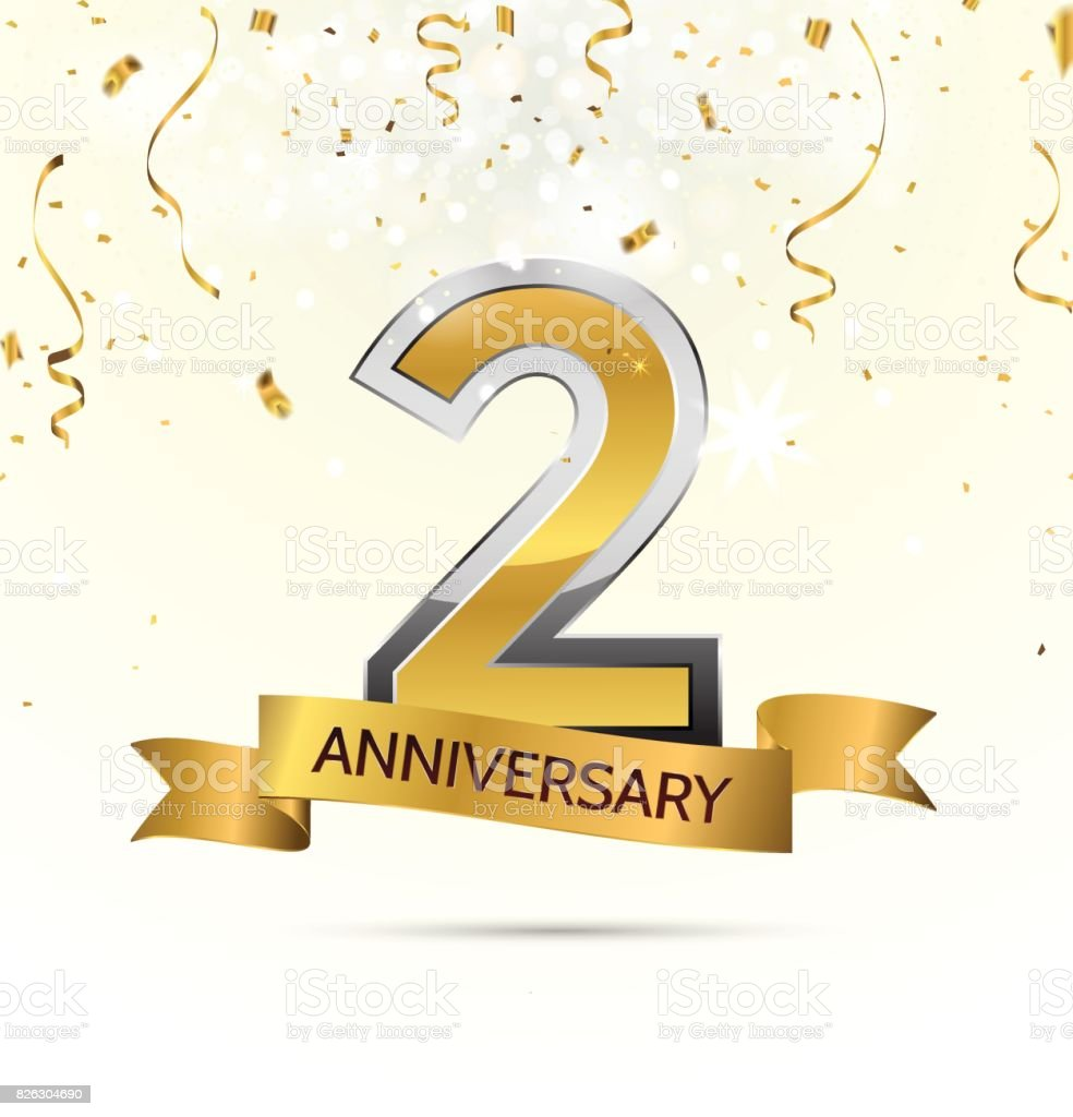 2 years anniversary celebration with abstract background with many
