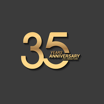 35 Years anniversary design stock illustration. Golden anniversary celebration emblem design for company profile, booklet, leaflet, magazine, brochure poster, web, invitation or greeting card