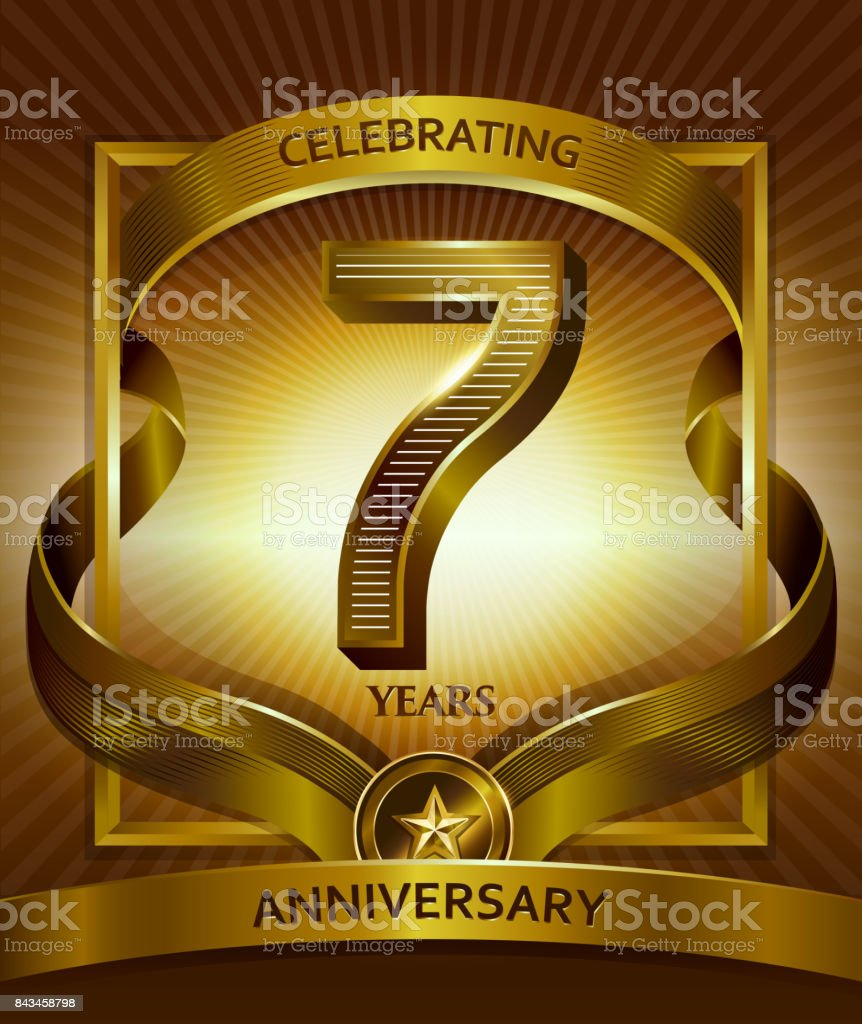 7 years anniversary design template for invitation, advertising, banner, vector design vector art illustration