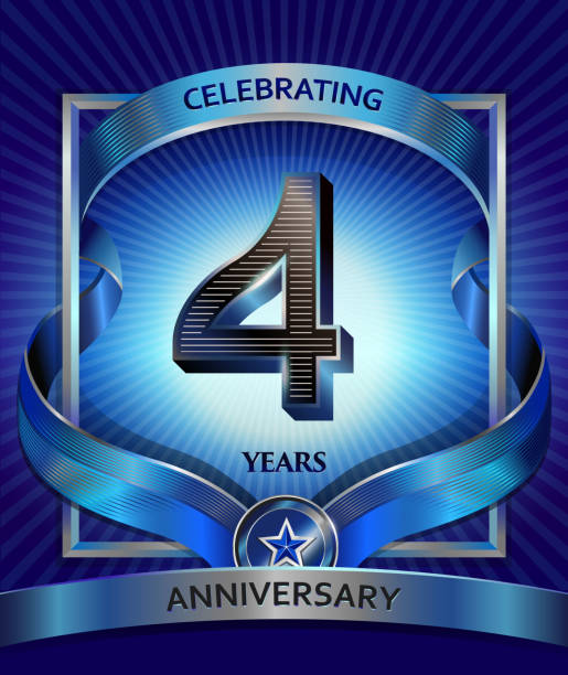 4 years anniversary design template for invitation, advertising, banner, vector design vector art illustration