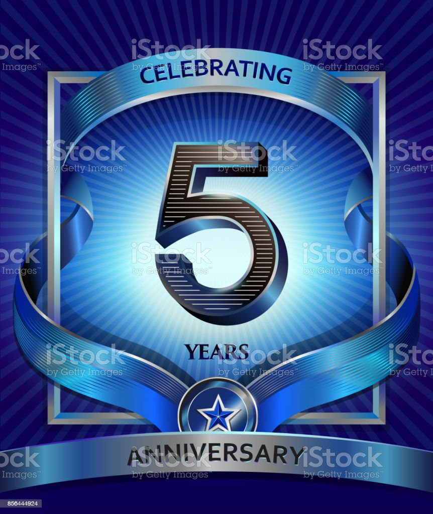 5 years anniversary design template for invitation, advertising, banner, vector design vector art illustration