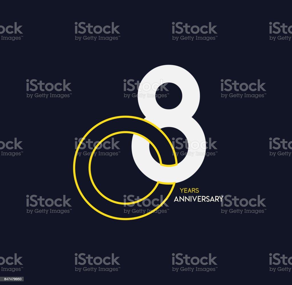 8 years anniversary elegance gold logo. linked number on dark background vector art illustration