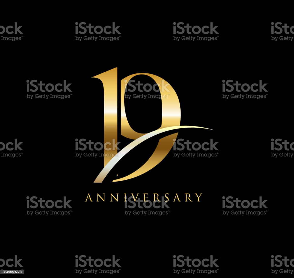 19 years anniversary elegance gold symbol. linked number with swoosh on black background vector art illustration