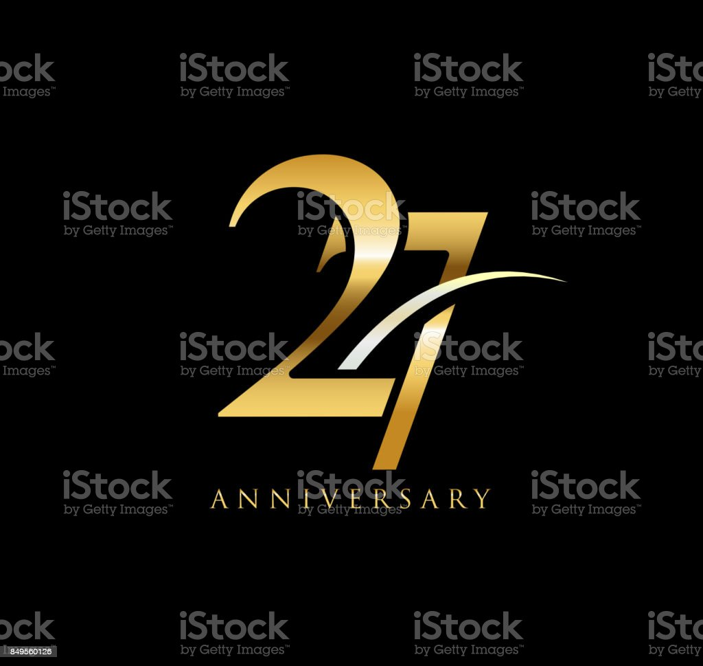 27 years anniversary elegance gold symbol linked number with swoosh 27 years anniversary elegance gold symbol linked number with swoosh on black background royalty biocorpaavc Images