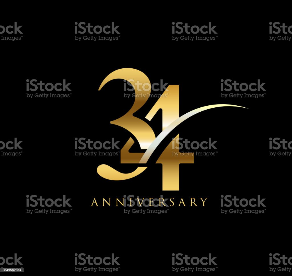 34 Years Anniversary Elegance Gold Symbol Linked Number With Swoosh