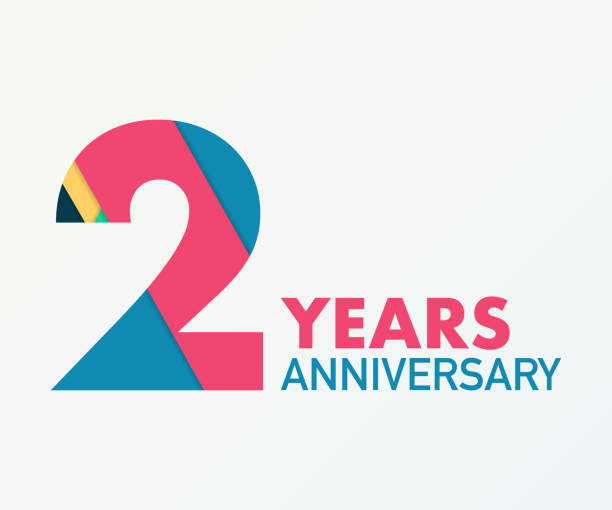 2 years anniversary emblem. Anniversary icon or label. 2 years celebration and congratulation design element. 2 years anniversary emblem. Anniversary icon or label. 2 years celebration and congratulation design element. Vector stock illustration. gezond stock illustrations