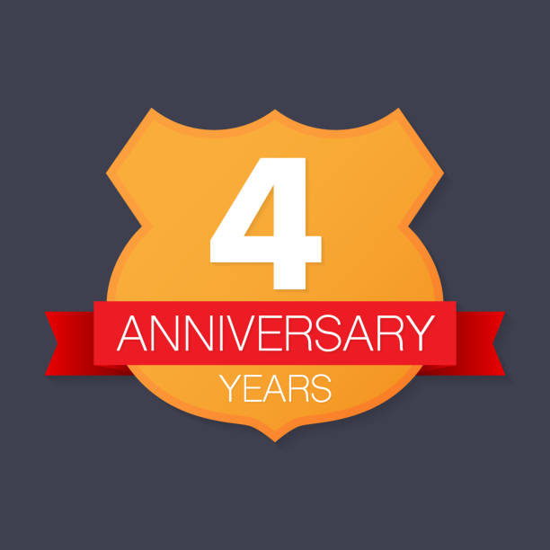 4 years anniversary emblem. Anniversary icon or label. 4 years celebration and congratulation design element vector art illustration