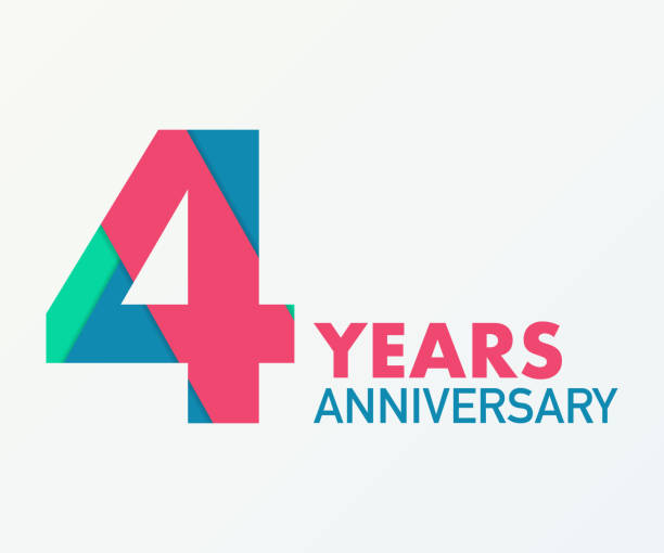 4 years anniversary emblem. Anniversary icon or label. 4 years celebration and congratulation design element. vector art illustration