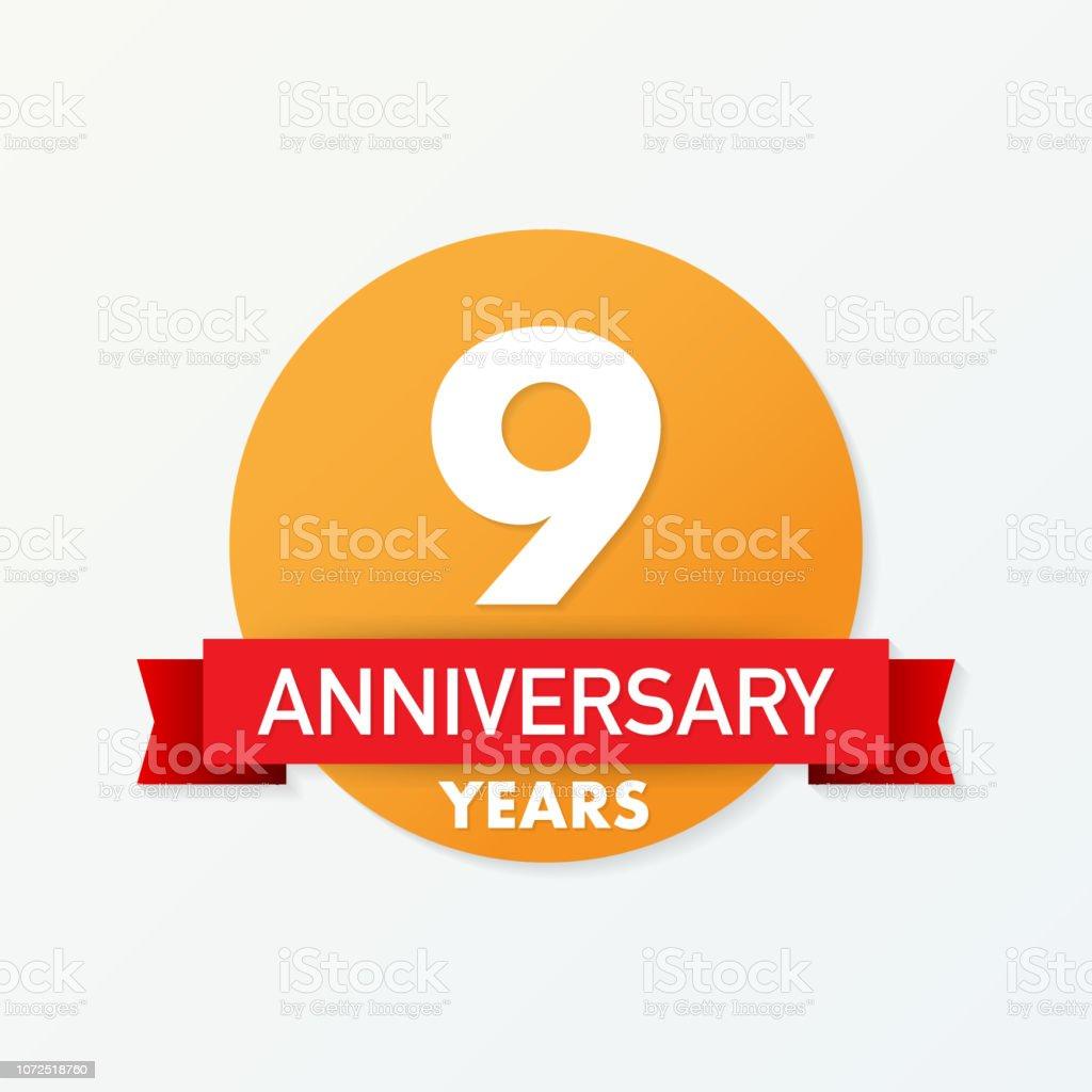 Verbazingwekkend 9 Jaar Verjaardag Embleem Verjaardag Pictogram Of Label 9 Jaar EX-16