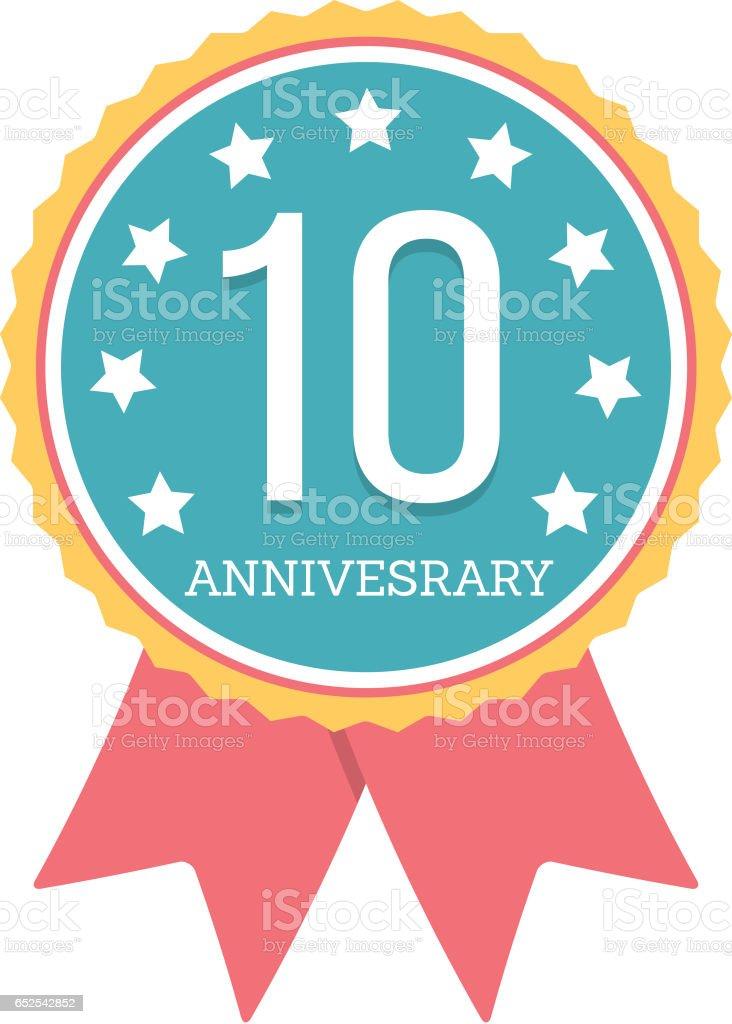 10 Years Anniversary Emblem vector art illustration