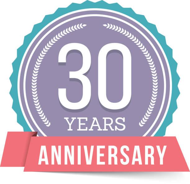 30 Years Anniversary Emblem vector art illustration